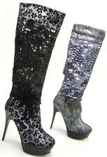 Kniehohe Damen-Stiefel Markenlose Damenschuhe mit Pfennig -/Stilettoabsatz