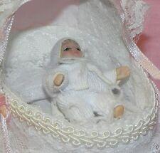 Dollhouse Miniature Baby Crib Bassinette Includes Doll  Reutter Porcelain  1:12