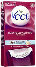 Veet Leg Body Hair Remover Cold Wax Strips Sensitive Formula 40Strips 0-622