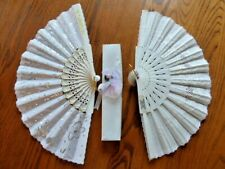 Two Vintage Hand Fans, Fabric and Plastic, Wedding