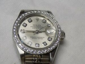 Rolex Datejust Lady Stainless Steel Watch Sapphire w/ Silver Diamond Dial Bezel