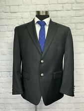 $250 Chaps Mens Solid Black Wool Sport Coat Blazer 42R