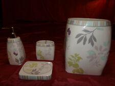 4 Piece Elegant WAVERLY Ceramic Bathroom Accessory Set Trash & Toothbrush & Soap