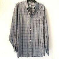 Peter Millar Mens Shirt XXL Button Front Blue Plaid Long Sleeve 100% Cotton 2XL