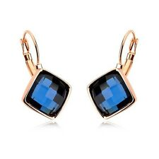 Narlino 18ct Real Rose Gold Plated Blue Crystal Hanging Earrings