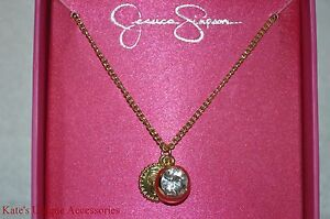 Jessica Simpson Goldtone Holiday Gifting Boxed Shiny Pendants Necklace Gift Idea
