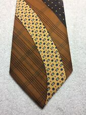 VINTAGE CUSTOM TAILORED MENS TIE 4 X 58 BROWNS, YELLOW AND BLUE