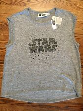 Womens Gap Star Wars Top M NWT Gray Black High-low Hem