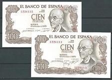 SIN SERIE OJO / PAREJA 100 pesetas de 1970 muy rara y escasa con todo el APRESTO
