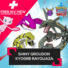 ✨Shiny✨ 6 IV Groudon Kyogre Rayquaza + FREE MEW Pokemon Sword Shield