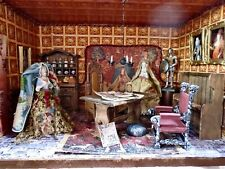 Medieval Room Box Diorama Fully Furnished Tudor Decor & 2 Porcelain Half Dolls