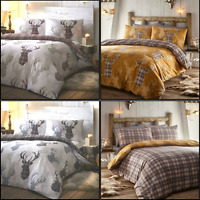 Tartan Stag Deer Check Duvet / Quilt Cover Set Bedding Natural, Grey or Mustard