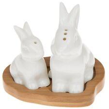 White Ceramic Baby Bunny Rabbit Salt & Pepper Cruet on Bamboo Wooden Base