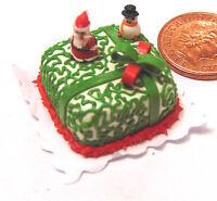 1:12 Scale Christmas Cake With Santa Dolls House Miniature Cake Accessory HO