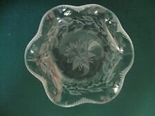 "AMERICAN ENGRAVED GLASS BOWL HOLLEY PATTERN SIGNED ""LIBBEY"""