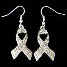 w Swarovski Crystal Gray ~Brain Cancer & Tumor Awareness Ribbon Dangle Earrings