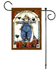 Fall Sunflower & Punkin Seeds Boy Girl Scarecrows Pumpkins Flag 2 Sided Sm Flag