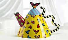 Romero Britto Full Size Ceramic Round with Hearts Teapot full Size 52 Oz