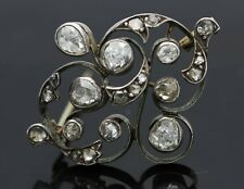 Antique Vintage 14K Gold and Silver Diamond Pin Brooches Victorian Era Jewelry