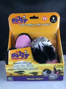silly slippers by silly slippeez zany zebra size 11-12 kids novelty animal