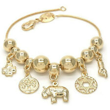 New 9 CT Gold filled Charm Bracelet, Star of David and Elephant Design E6