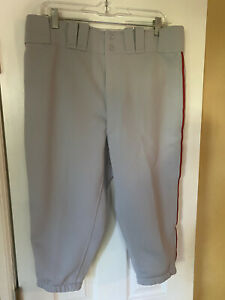 Mizuno Knickers Style Mens Baseball Pants Gray with Red Piping XL Pre owned