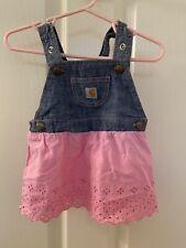 Carhartt Baby Girls Pink Eyelet Skirt Denim Jumper Dress Size 9 Months
