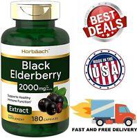BLACK ELDERBERRY 2000 mg Support Healthy Immune System Antioxidant 180 Capsules