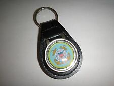 US COAST GUARD Raised Emblem Black Leather Key Ring New