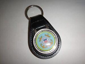 États-unis Coast Guard Surélevées Emblème Cuir Noir Clé Anneau Neuf