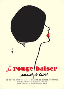 LE ROUGE BAISER FINE ART PRINT - BEAUTIFUL ART DECO STYLE OF RENE GRUAU 1920`S