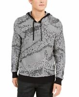 INC Mens Sweater Harbor Gray Black Size 2XL Jax Knit Hooded Pullover $59 013