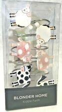 1 Blonder Home Kiddie Farm 12 Shower Hooks Sheeps Cows Horses 7.4 oz