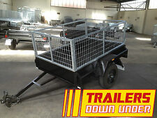 6x4 Single Axle Cage Trailer Checker Plate Floor - 2ft Galvanised Cage 750Kg GVM