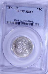 1877-CC Seated Quarter : PCGS MS62 Blazing White