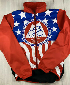VTG 1985 USA Flag Print Louis Garneau Cycling Full Zip Jacket Jersey Medium A+