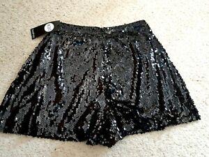 Ladies Boohoo Black Sequin Shorts Size 8