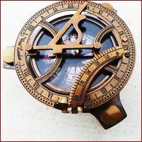 "Antique Nautical BRASS SUNDIAL COMPASS, Maritime Vintage Style 4"" Nautical Decor"