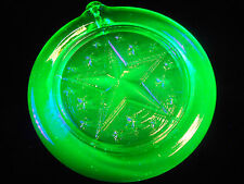 Green Vaseline uranium glass Nautical Star Christmas ornament sun catcher X-mas