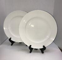 """Mikasa Swirl White Bone China 11"""" Dinner Plates Set of 2"""