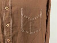 Vintage 70s JCPenney Shirt Men's L Brown Long Sleeve Button Down Contrast-Stitch