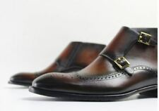 Wing Tip Genuine Leather Dress Boots Buckle Casual Formal Leather Mens Shoes