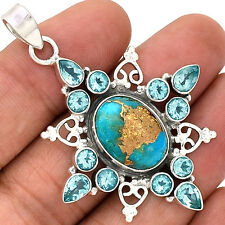 Copper Blue Turquoise & Blue Topaz 925 Sterling Silver Pendant Jewelry PP43578