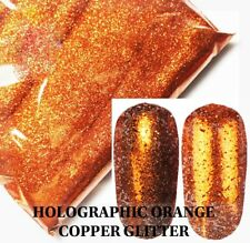 USA HOLOGRAPHIC ORANGE COPPER Glitter Solvent-Resistant Acrylic Gel Nail Art