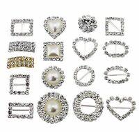 10~100pcs Diamante Rhinestone Square Buckle Invitation Ribbon Slider Crafts