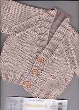 "16"" (8-12lbs)  100% COTTON ~ Baby Boy cardigan ~(NEW) Beige Hand Knit"