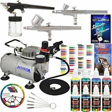 Professional 3 Airbrush System Compressor 6 Color Prima Airbrush Master Kit Pain