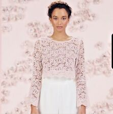 LC Lauren Conrad Blouse Size Large Runway Collection Pink Lace Bell Sleeve