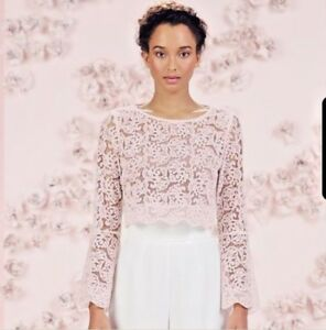 LC LAUREN CONRAD Pink Lace CROP TOP Size: MEDIUM New SHIP FREE Runway Collection