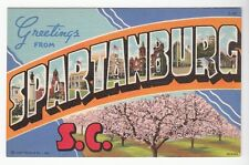 [51600] OLD LARGE LETTER POSTCARD GREETINGS FROM SPARTANBURG, SOUTH CAROLINA